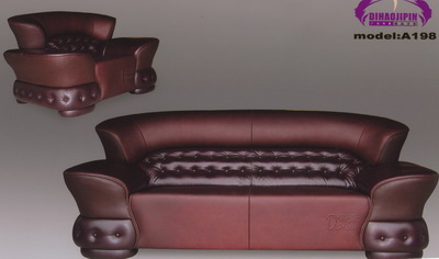 Brown leather sofa 3D model over the boss