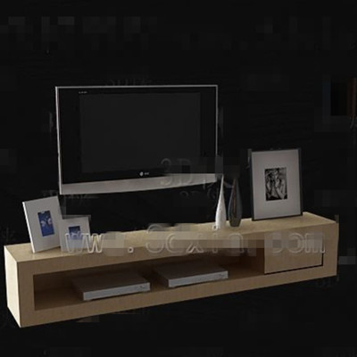 Light yellow simple TV cabinet