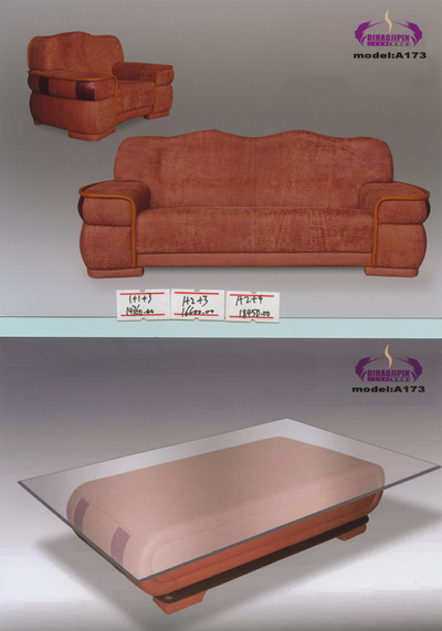 Brown sofa and coffee table 3D model of the boss