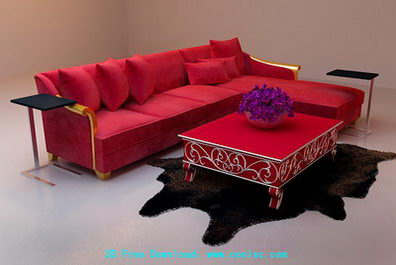 Red and long corner sofa