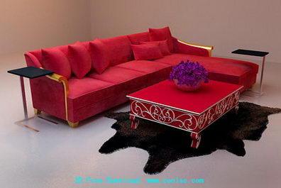Red and long corner sofa