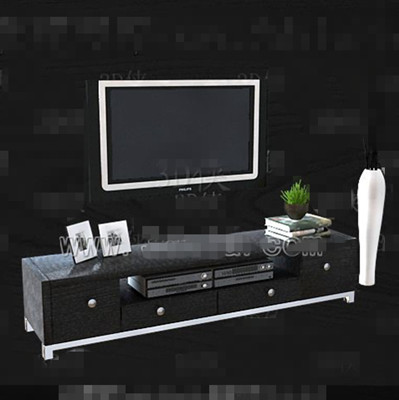 Black and gray with drawers TV cabinet