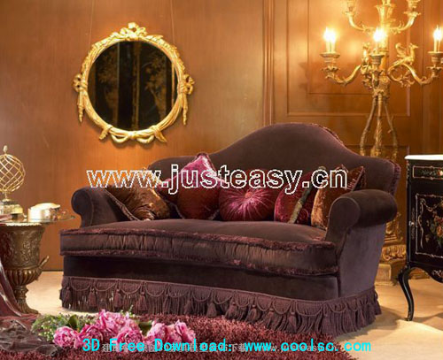 Luxury classic sofa 3D model (including materials)