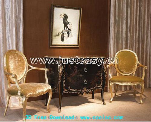 European retro chair 3D model (including materials)