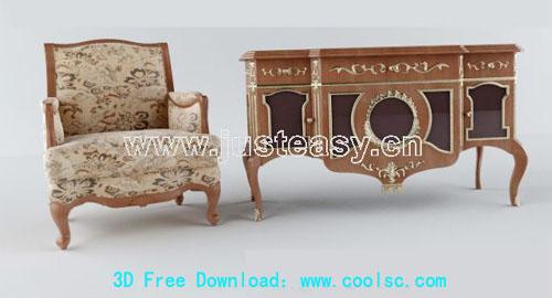 European-style retro furniture 3D model (including materials)