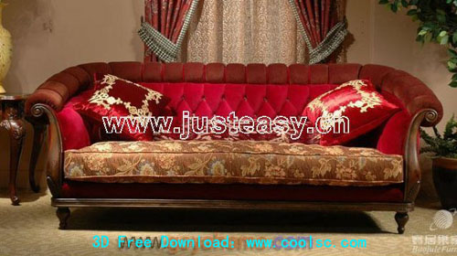 European-style classical sofa 3D model (including materials)