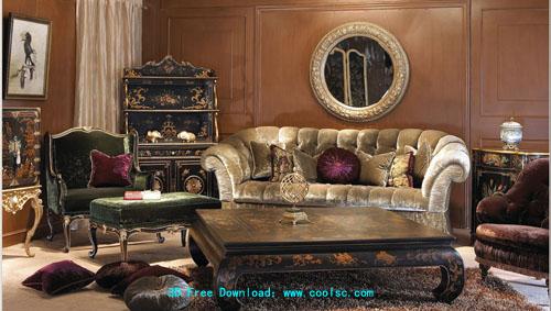 European low-profile sofa 3D model portfolio (including materials)