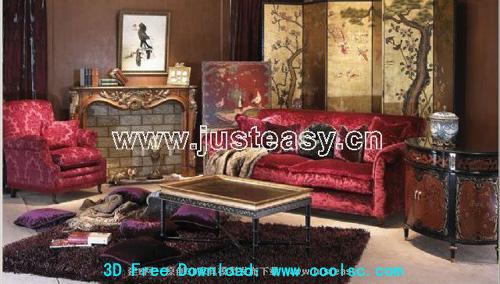 Combination of European luxury sofa 3D model (including materials)