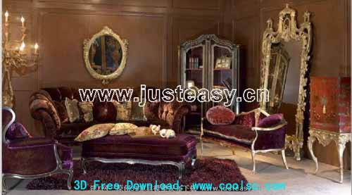 Combination of classical European style luxury furniture 3D model (including materials)