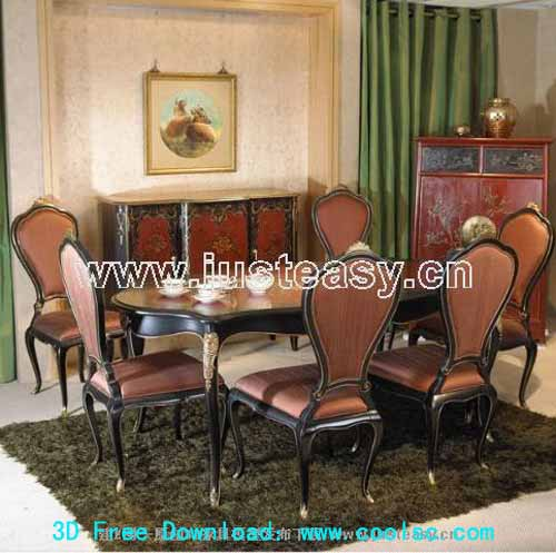 European low-key dining table and chair combination of 3D models (including materials)