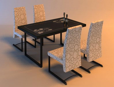 Solid wood chair and dinner table