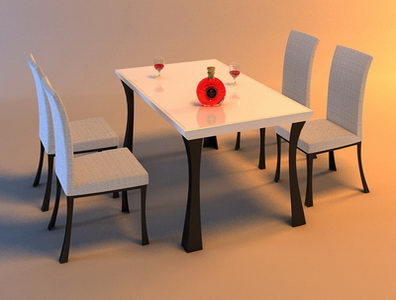 Table and 4 chairs in kitchen