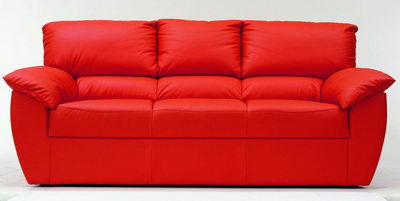 Red modern leather fabric sofa