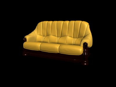 3D model of the boss over the yellow sofa