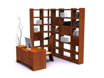 bookshelf and desk in study