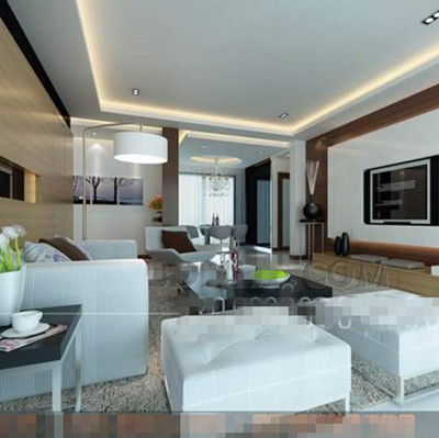 Modern white stylish living room