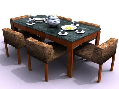 Six chairs and table for dining