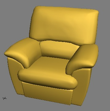 Yellow single sofa 3D model