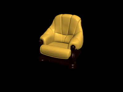 No material yellow single old-fashioned sofa3D model