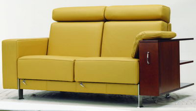 Saffron yellow love seat with wall units