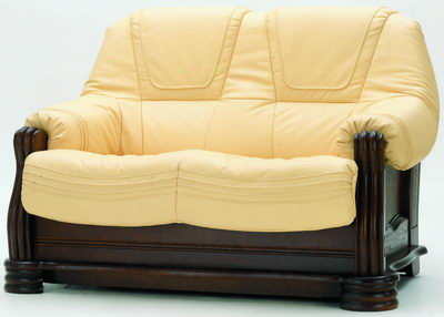 Cream-colored leather redwood sofa