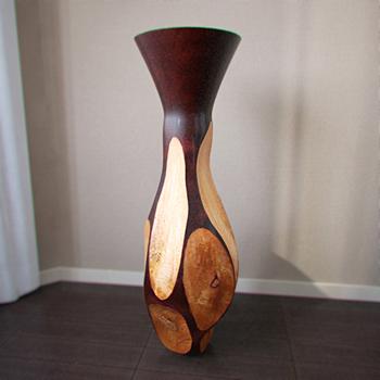 Interior decoration wooden vase