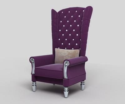 Purple high-back sofa 3D Model