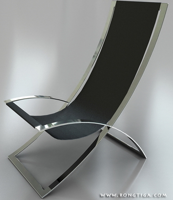 Simple model of two stainless steel chair