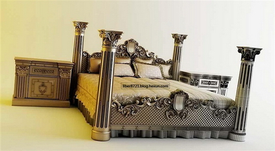 Luxury European-style bed 3D Model