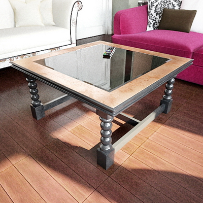 European-style table 3D Model 3 (with map)