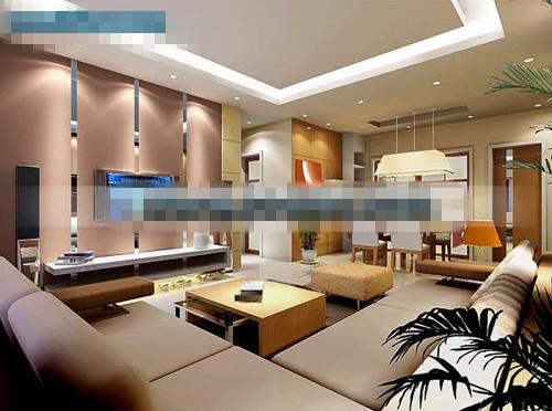 Modern bright living room 3d model