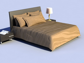 Bed soft bed 3D Model of retro wood Simmons