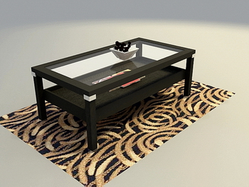 Glass, solid wood furniture, wooden coffee table 3D Model of Tea