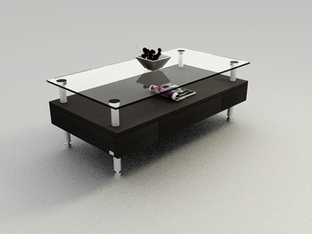 Fashion Black Glass Table, Wood Coffee Table High End 3D Models