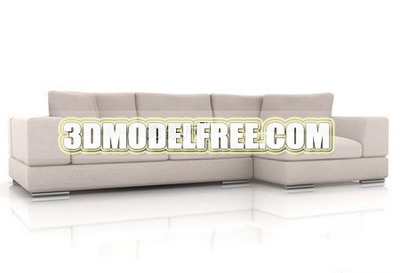 Furniture 3D Model: Modern Style Creamy Sofa Combination 3Ds Max Model