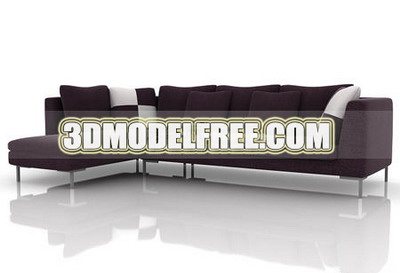 Furniture 3D Model: Black and Brown Sofa 3Ds Max Model