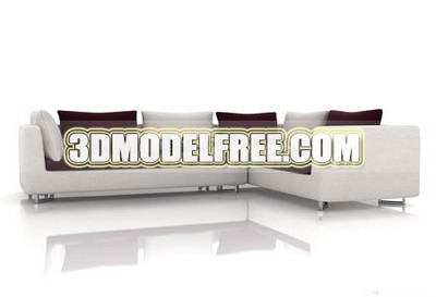 Furniture 3D Model: White And Brown Sofa Combination 3Ds Model