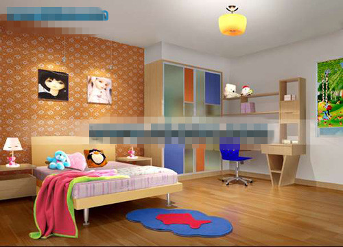 Orange lovely childrens bedroom 3d model. Orange lovely childrens bedroom 3d model Free Download