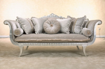 Furniture Model: Deluxe Sliver Grey Velvet Fabric Sofa
