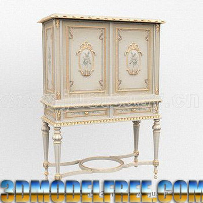 European Furniture Model: Victorian Carved Cupboard