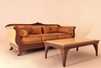 European Furniture Model: Leather Sofa and Coffee Table