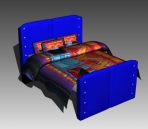 Double Bed Design Series D: Blue Ethnic Bed