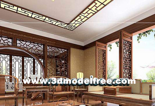 Traditional Chinese wooden living room