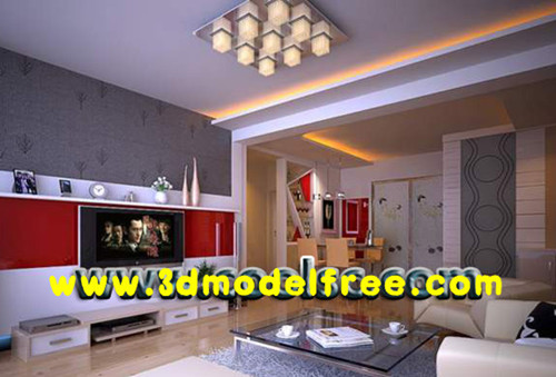 Modern red TV wall living room