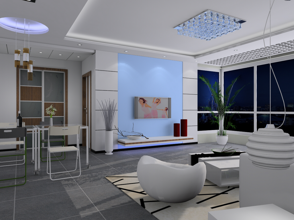 Bright and spacious modern living room 3D Models