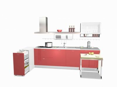 Red Theme Built-in Kitchen