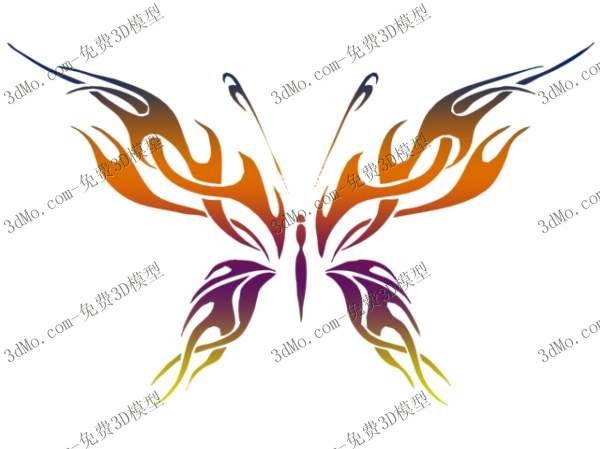 3D Model of butterfly pattern wall drawings (including materials)