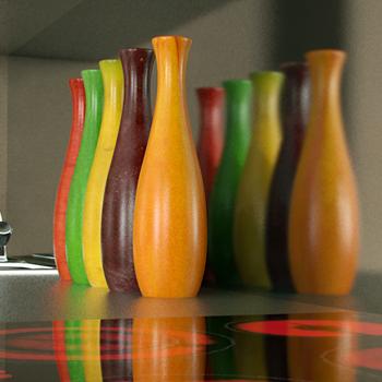 Candy colored bottles 3D model