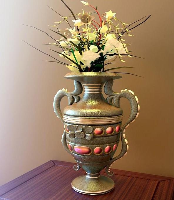 Retro vase flower arrangement