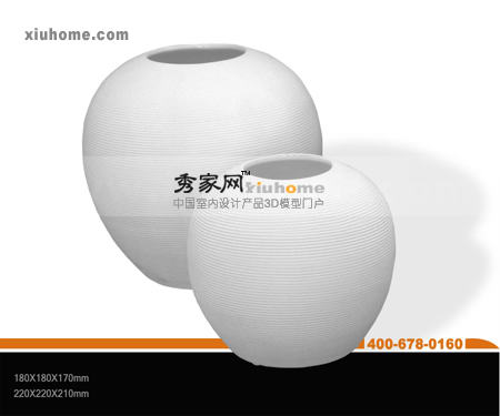 White bone porcelain ellipse containers adornment 3D models